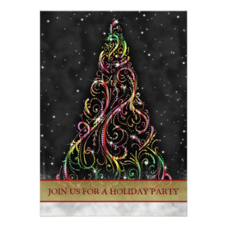 Swirly Christmas Tree Holiday Party Invitation