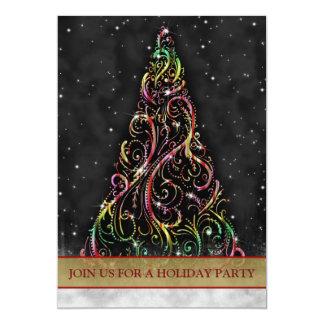 """Swirly Christmas Tree Holiday Party Invitation 5"""" X 7"""" Invitation Card"""