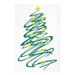 Swirly Christmas Tree Stationery Paper
