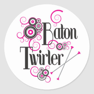 Swirly Circle Baton Twirler Round Sticker