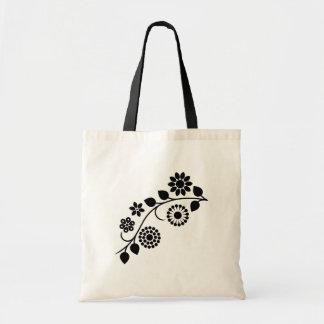 Swirly floral black white vine budget tote bag