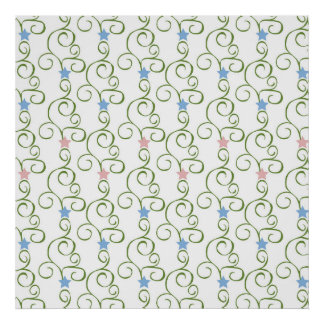Swirly Floral Stars Poster