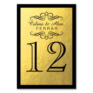 Swirly Flourish with Outline Table Numbers   gold