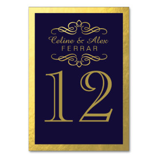 Swirly Flourish with Outline Table Numbers | navy Table Card