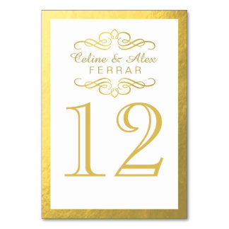 Swirly Flourish with Outline Table Numbers | white Table Cards