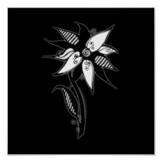 Swirly Flower By Naomi - Black White Posters