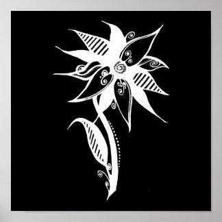 Swirly Flower - Negative B&W Poster