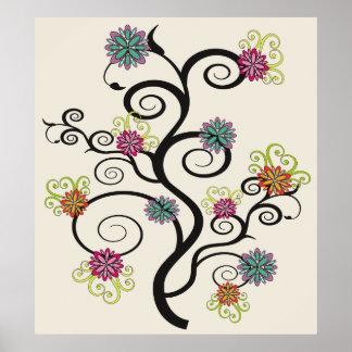 Swirly Flower Tree Canvas Print
