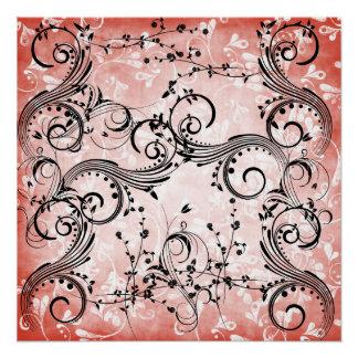 "Swirly Flower Vines Poster 20""x20"""