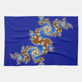 Swirly Fractal Blue Brown Tea Towel