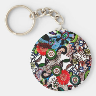 Swirly Funky Multicolored Doodles Key Chain