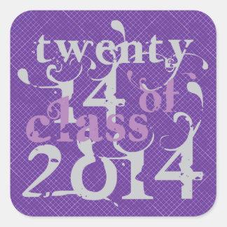 Swirly Girly Class OF 2014 Purple Square Sticker