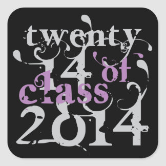 Swirly Girly Class OF 2014 Square Sticker