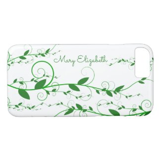 Swirly Green Flourished Vines Personalized Case-Mate iPhone Case