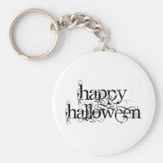 Swirly Grunge Happy Halloween Basic Round Button Key Ring