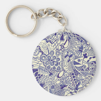 Swirly Hand Doodled Key-chain Basic Round Button Key Ring