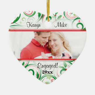 Swirly Holly Couple Photo Heart Ornament