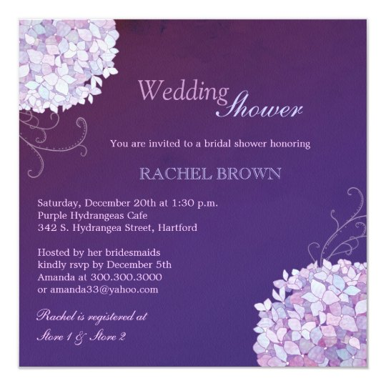 Swirly Hydrangea Deep Purple Wedding Shower Card