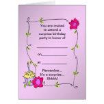 Swirly leaf frame Border - Cupcake and Roses Greeting Card