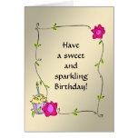 Swirly Leaf Frame + Cupcake + Roses Greeting Card