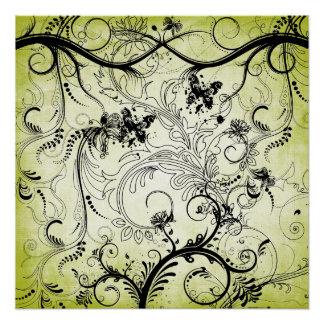 "Swirly Leaf Vines Poster 20""x20"""