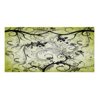"Swirly Leaf Vines Poster 28""x14"""