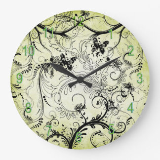 Swirly Leaf Vines Round Wall Clock