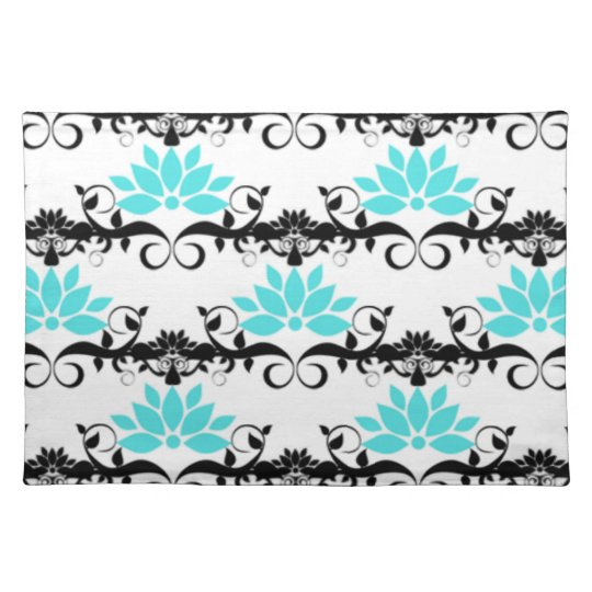 swirly modern aqua white black damask pattern place mat