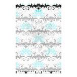 swirly modern aqua white black damask pattern stationery paper