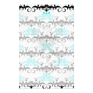 swirly modern aqua white black damask pattern stationery