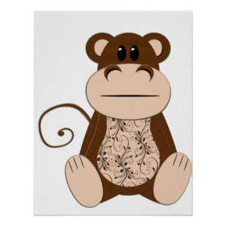 Swirly Monkey Poster