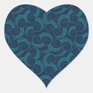 Swirly Ocean Waves Heart Sticker