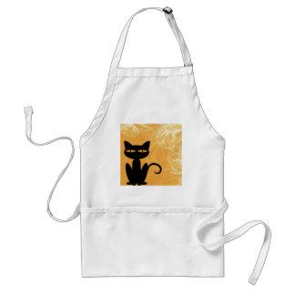 Swirly Orange Black Cat Standard Apron