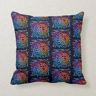 Swirly Pattern on Black Cushion