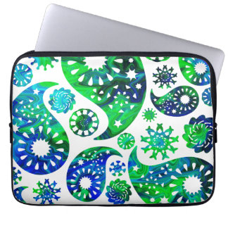 Swirly Pattern Paisley in Green and Blue. Laptop Computer Sleeve