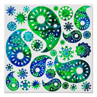 Swirly Pattern Paisley in Green and Blue. Poster