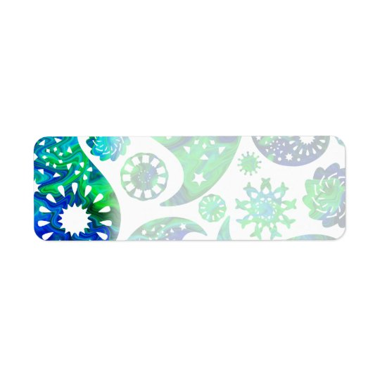 Swirly Pattern Paisley in Green and Blue. Return Address Label