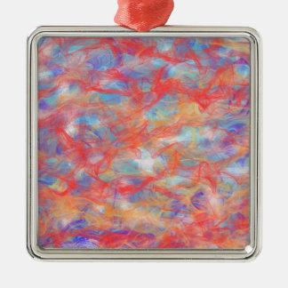Swirly pattern Silver-Colored square decoration