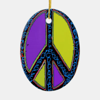 Swirly Peace Sign Double-Sided Oval Ceramic Christmas Ornament