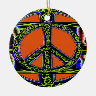 Swirly Peace Sign Double-Sided Ceramic Round Christmas Ornament