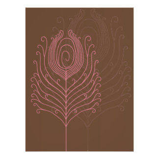 Swirly Peacock Feathers Poster