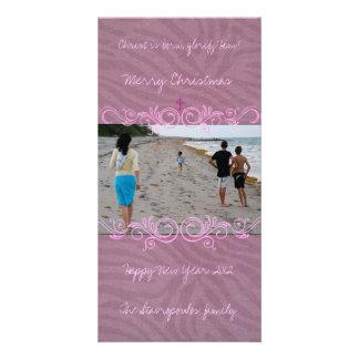 Swirly Pink Customised Photo Card