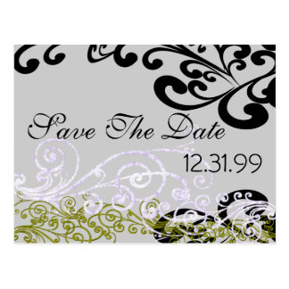 Swirly Purple & Green Save The Date Postcard