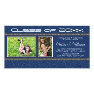 Swirly-Q 2-Photo Graduation Announcement (blue) Photo Card Template