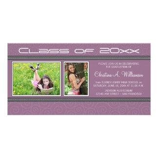 Swirly-Q 2-Photo Graduation Announcement (purple) Personalised Photo Card