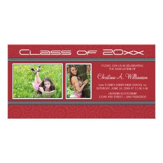 Swirly-Q 2-Photo Graduation Announcement (red) Customized Photo Card