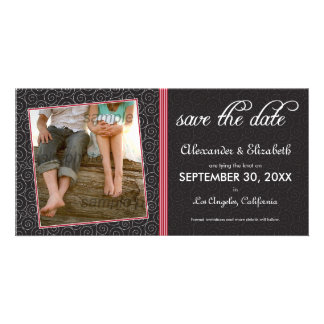 Swirly-Q Black and Red Save the Date Announcement Picture Card