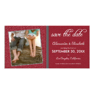 Swirly-Q Maroon/Black Save the Date Announcement Picture Card