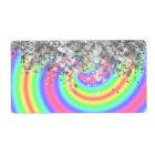 Swirly rainbow and faux glitter