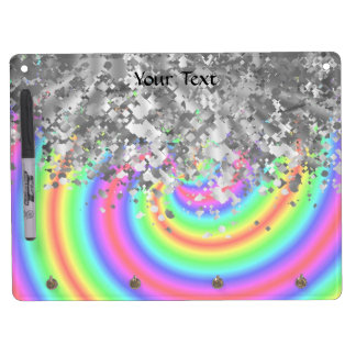 Swirly rainbow and faux glitter dry erase board with key ring holder
